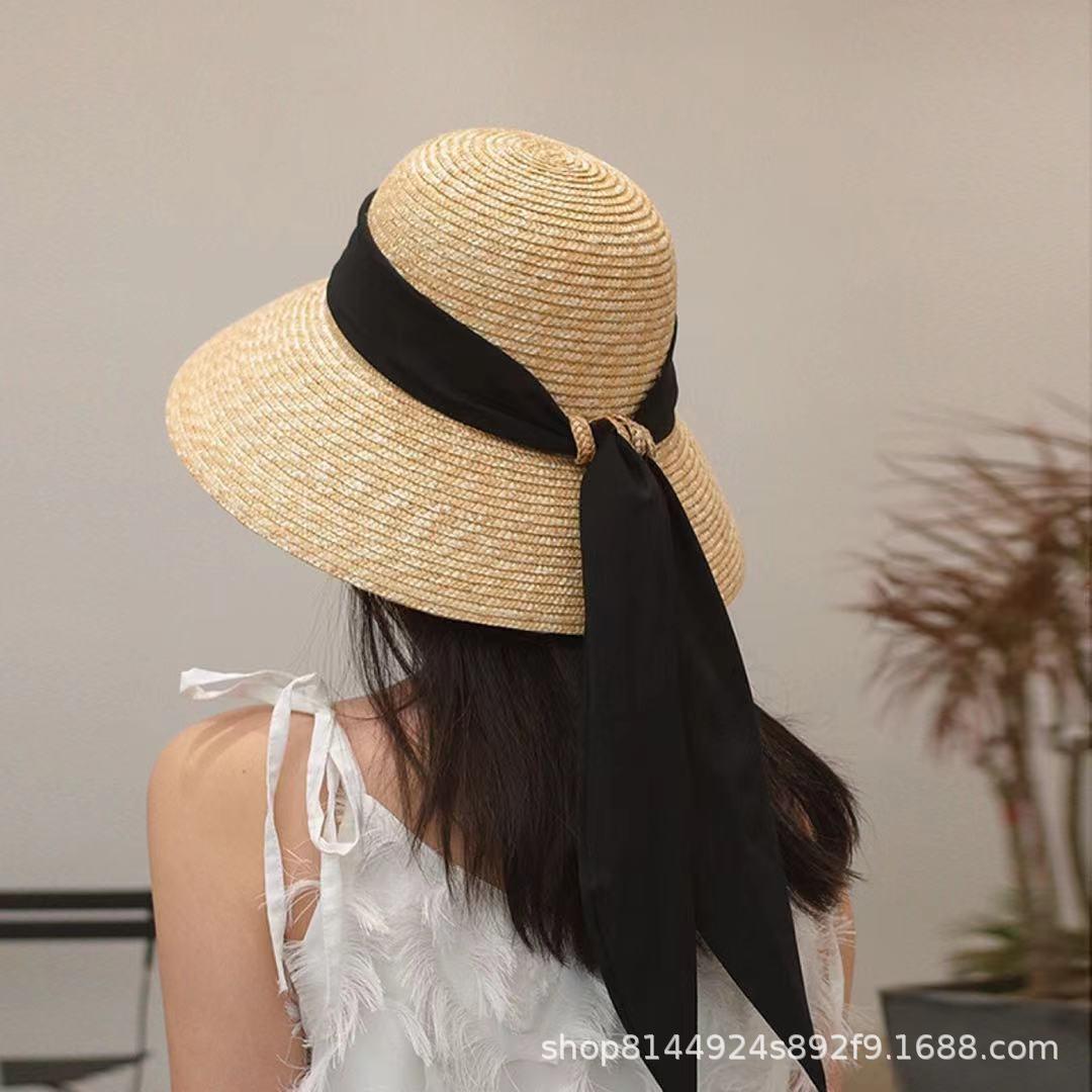 Ribbon Tie Basin Straw Hat for Summer City Strolling