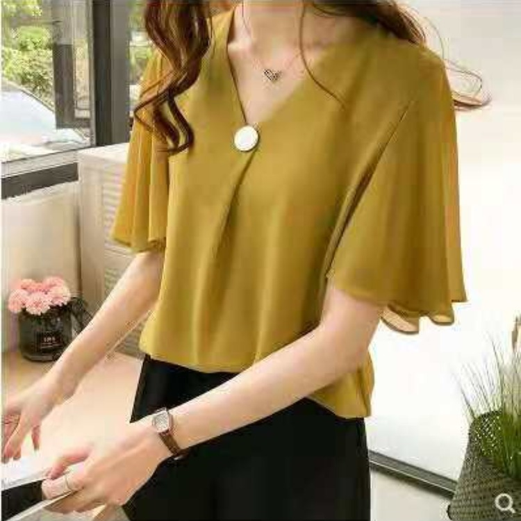 Classy Chiffon Flared Sleeves V-Neck Blouse for Office Wear