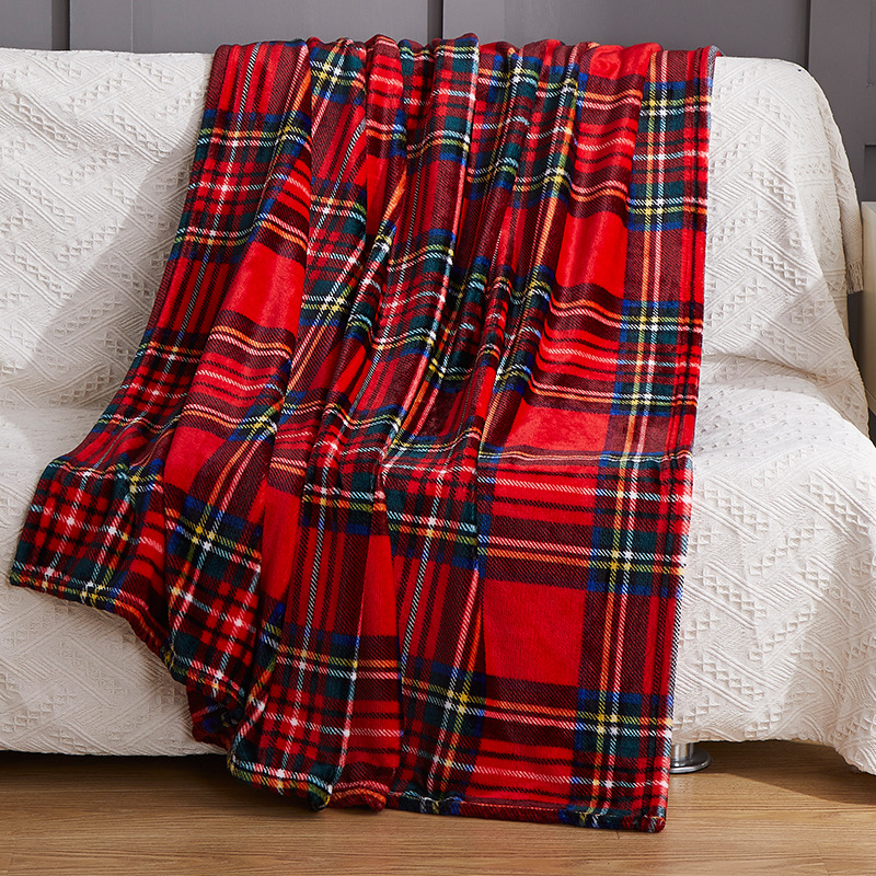 Classic Plaid-Printed Blankets for Comfortable Naps