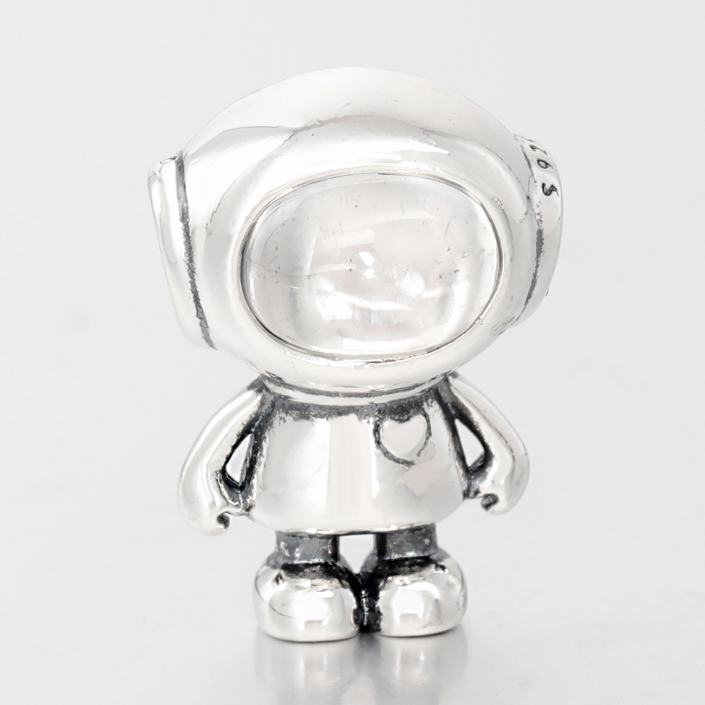 Polished Astronaut Silver Bead for DIY Accessories