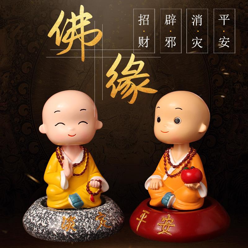 Cute Bobblehead Monk for Creative Dashboard Decors