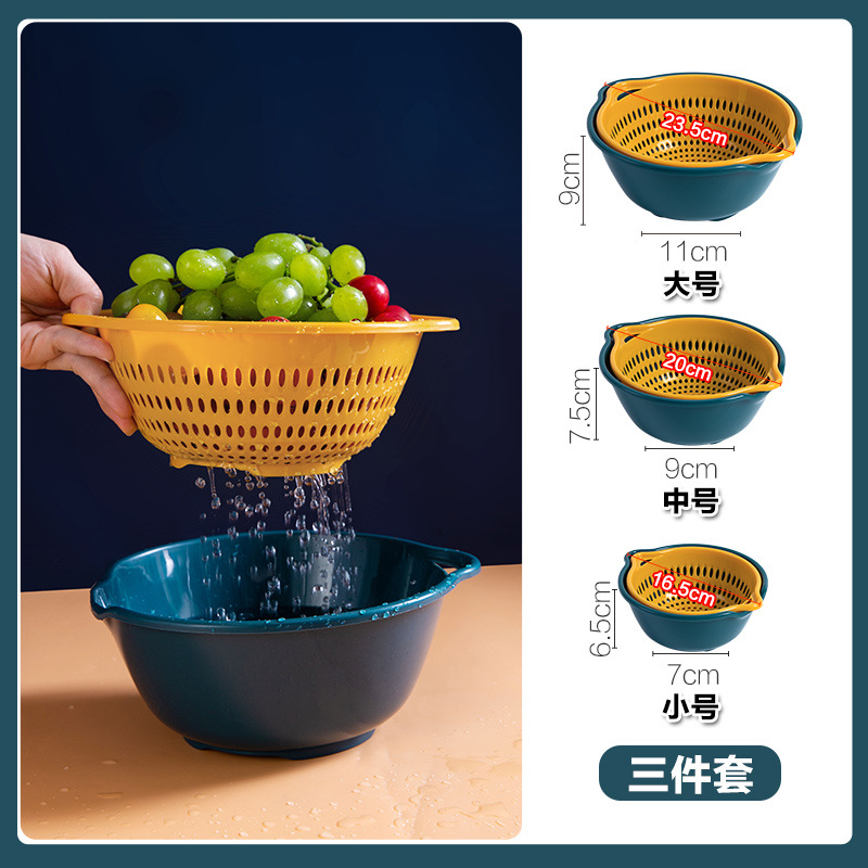 Simple Polypropylene Bowl with Drain for Convenient Food Preparation