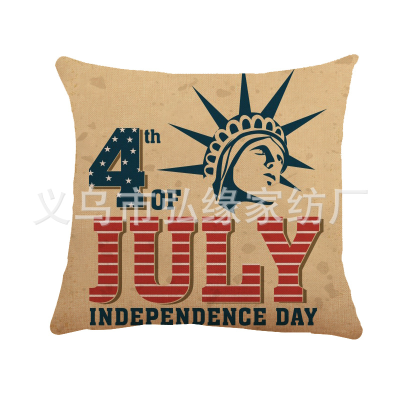 United States Independence Day Linen Cushion Cover for 4th of July Ideas