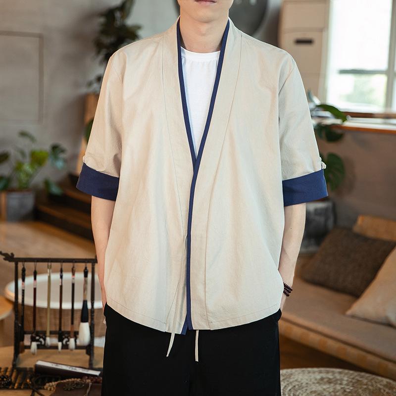Vintage Hanfu Linen Cardigan for Men's Traditional Attire