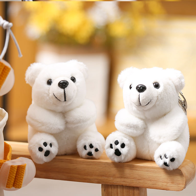 Basic Sitting/Lying Polar Bear Keychain for Christmas Party Giveaways