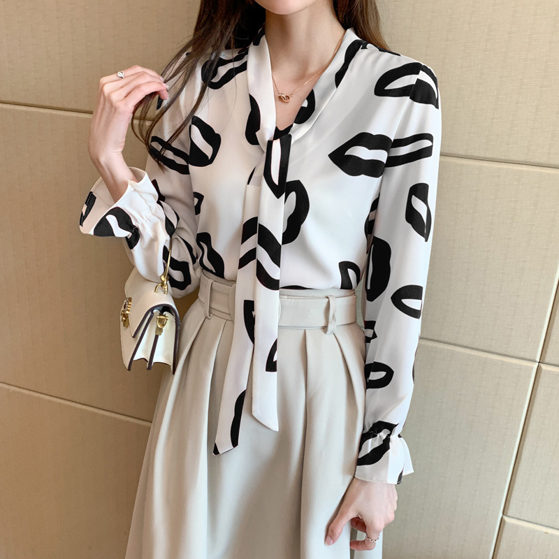 Formal Lip Print Long-Sleeves Blouse with Fabric tie for Hotel Dates
