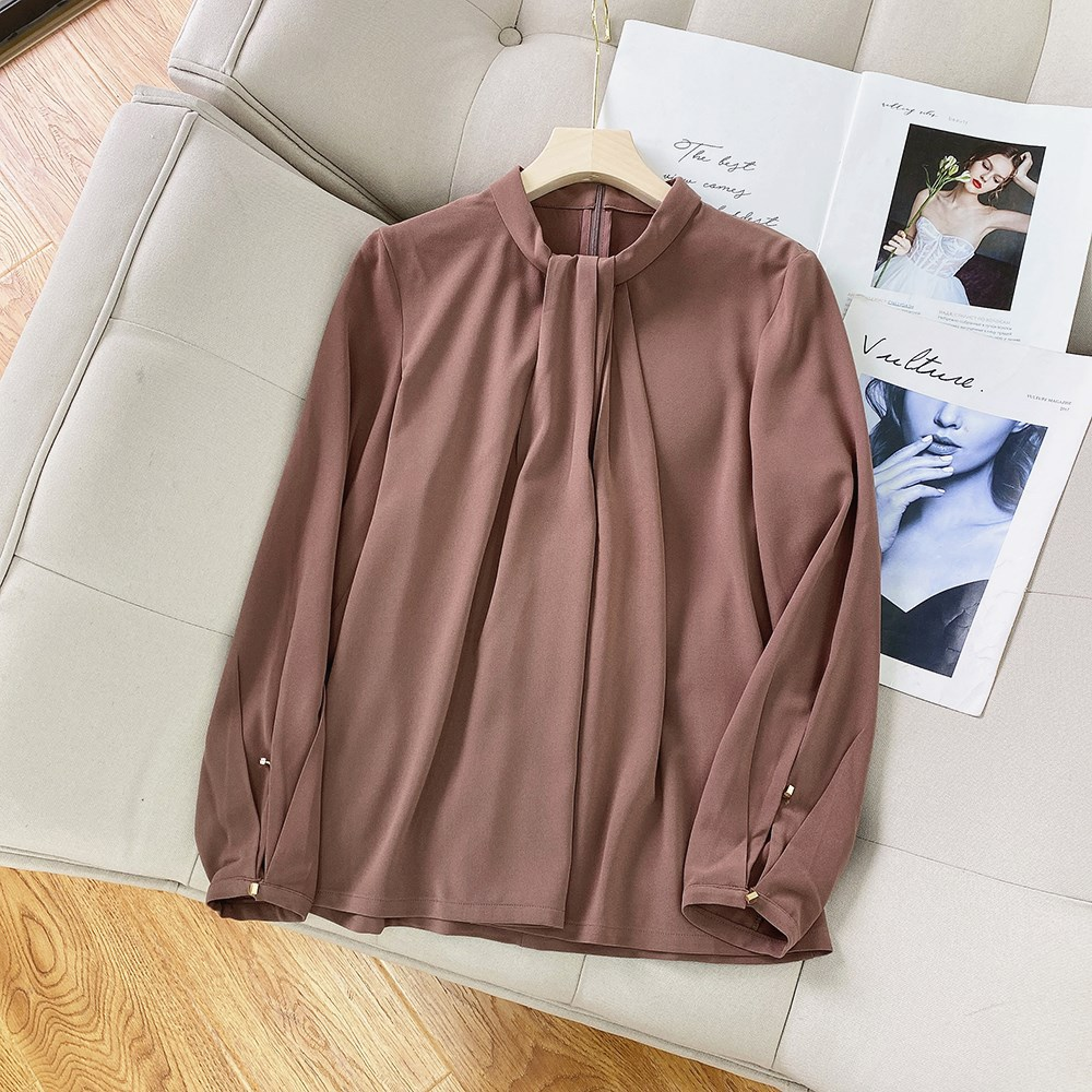 Chic Brown Blouse with Button Cuff for Attending Weddings