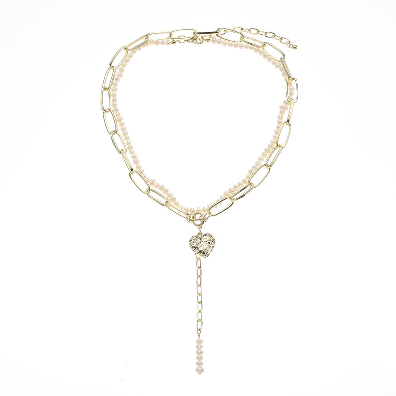 Appealing Double Gold Chain and Pearl Necklace with Pendant for Trendy Gift Giving