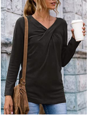 Simple Twisted V-Neck Long Sleeve Top Perfect for Coffee Dates
