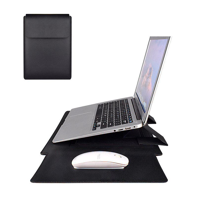 Thin Faux Leather Laptop Case and Stand in One for Extreme Portability
