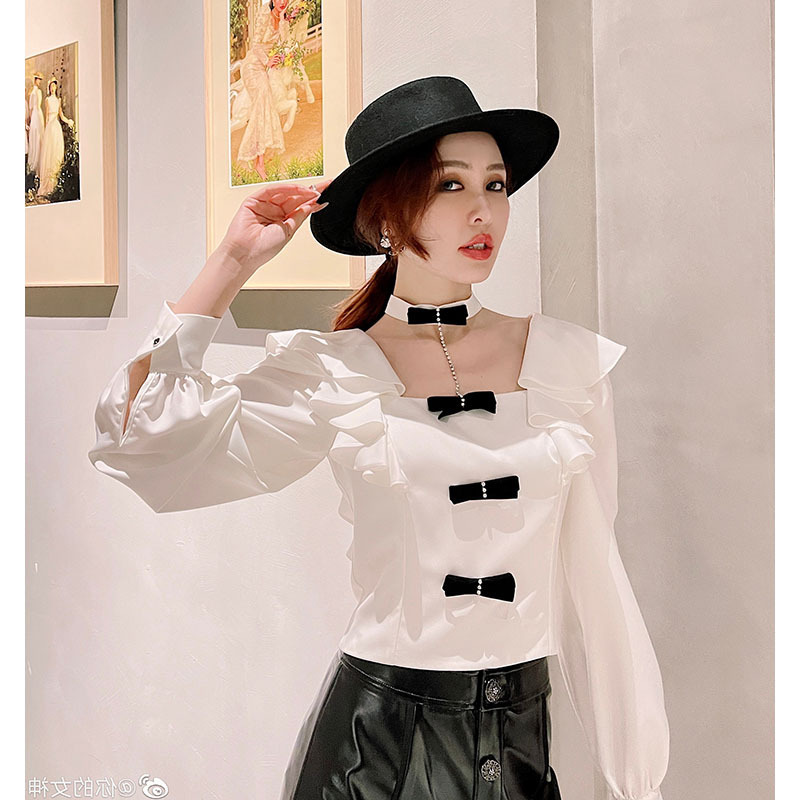 Eye-Catching Ribbon Flounced Blouse for Themed Semi-Formal Events