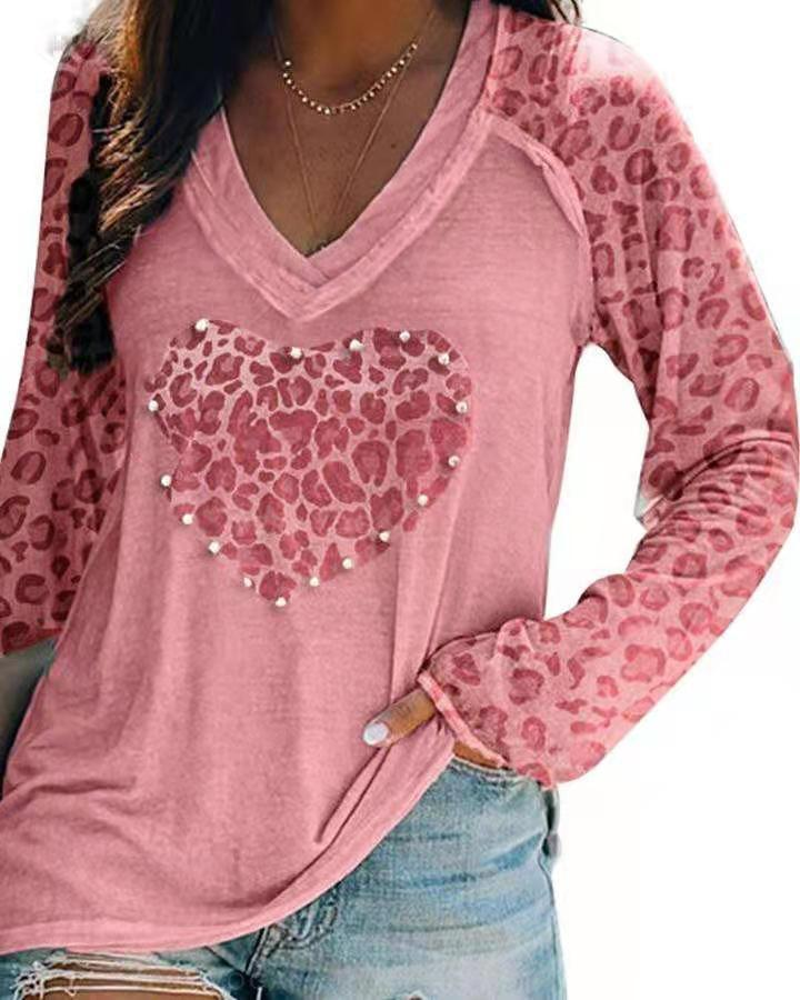 V-Neck Cotton Long Sleeved Shirt with Leopard Print Sleeves for Attractive Women