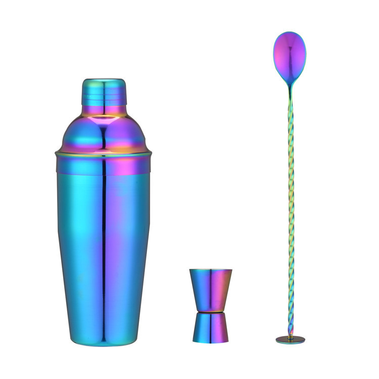 Colorful and Shiny Three Piece Cocktail Shaker for Cocktail Making
