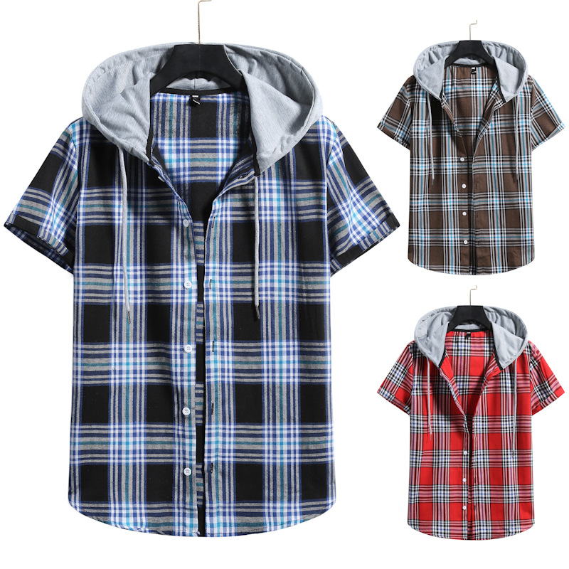 Comfy Window Pane Plaid Pattern Short Sleeves Hoodies for Rainy Day