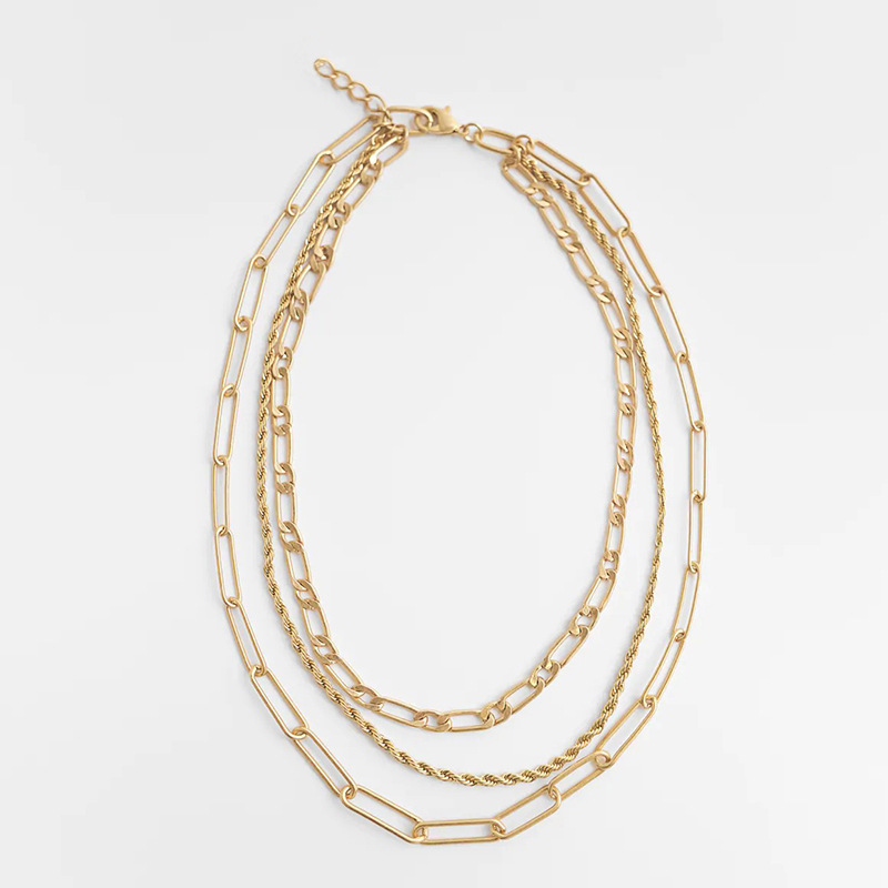 Triple Metal Chain Necklace for Empowered Women Outfits