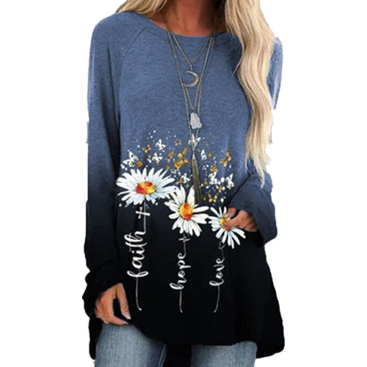 """""""Faith, Hope, Love"""" Floral Loose Long Sleeve Top for Trendy Ladies' Looks"""