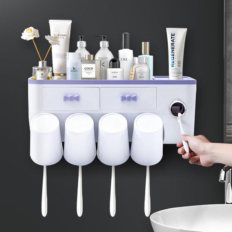 Large Capacity Bowtie Design Wall-Mounted Toothbrush Rack for Home