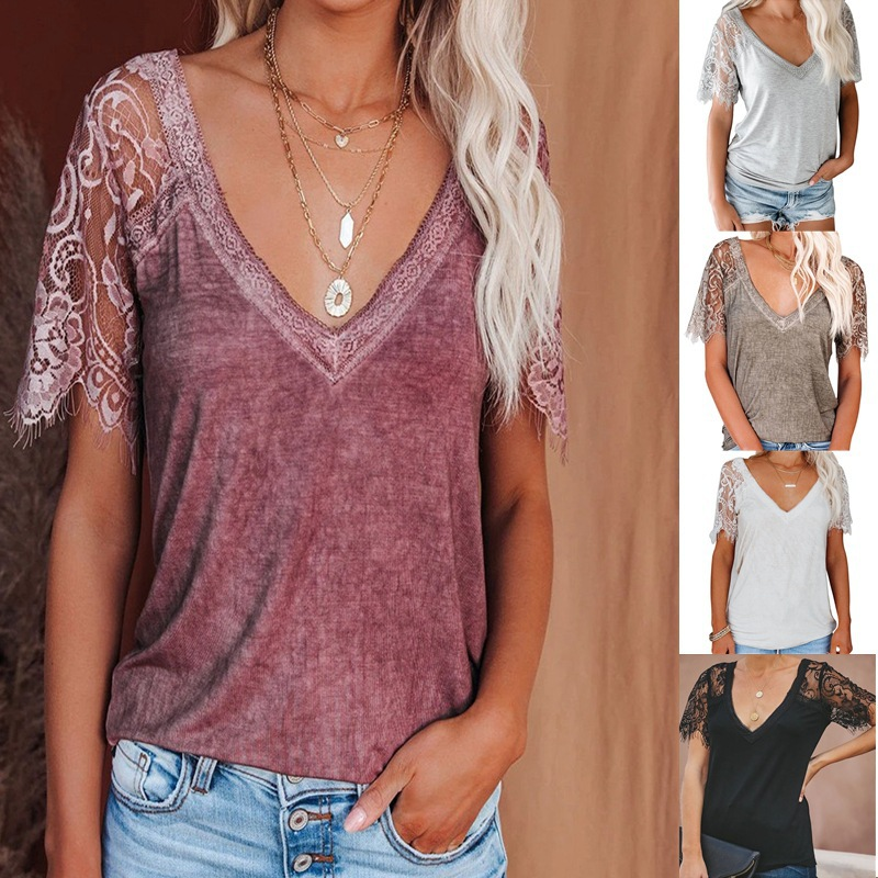 Floral Lace Short-Sleeve Shirt for Trendy Summer Wear