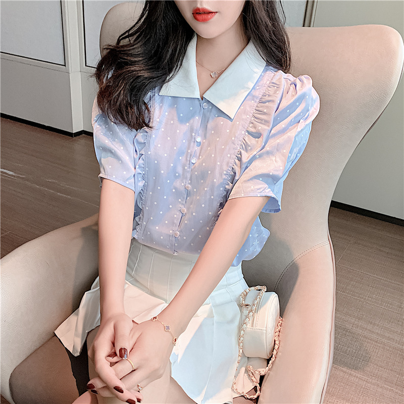 Retro Polka-Dot Puff Sleeves Shirt for Lunch Dates