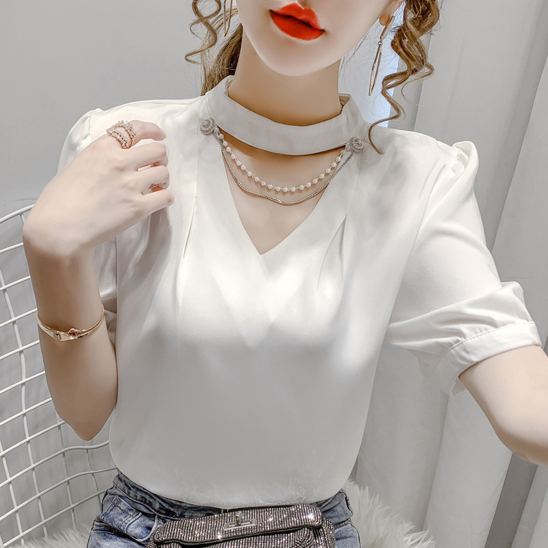 Classy Satin V-Neck Cross Line Long Sleeves Top for Special Occasions