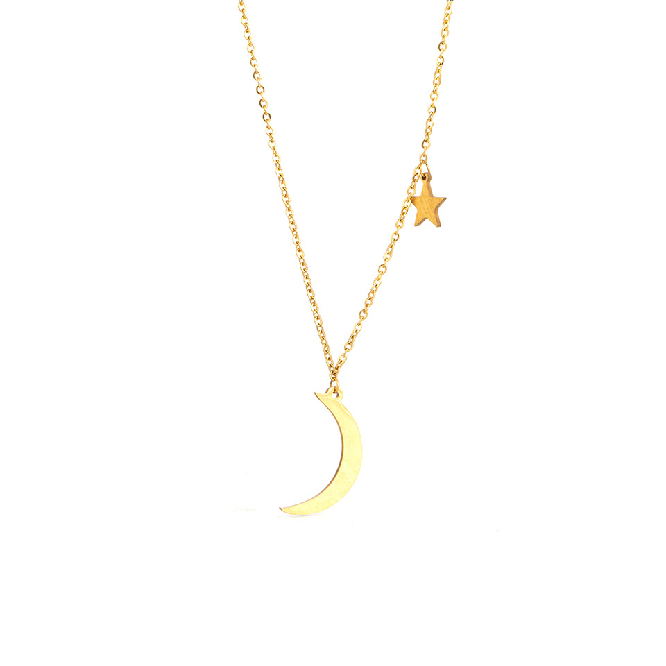 Elegant Stainless Steel Necklace with Celestial Design for Birthday Gift