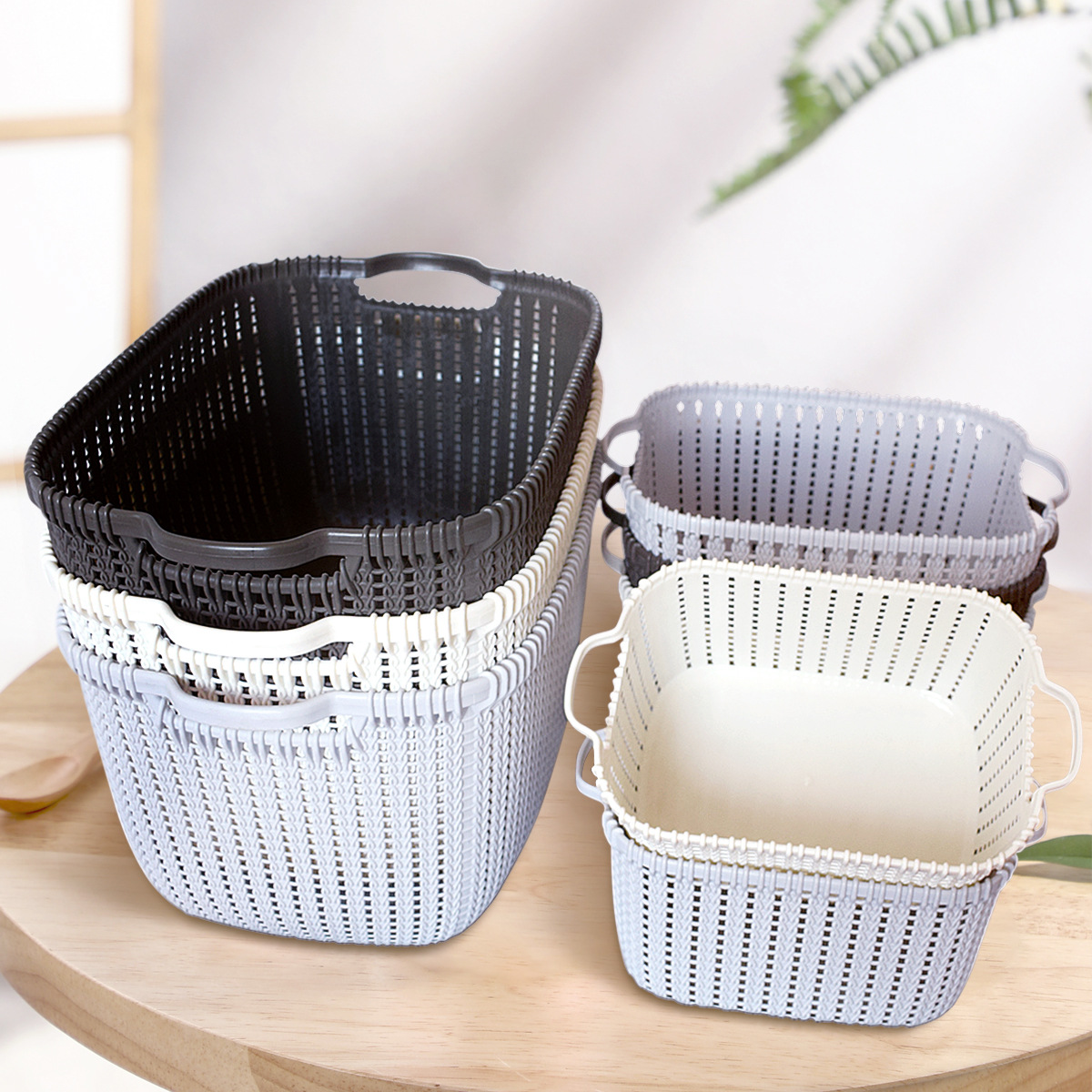 Household Hollow Plastic Storage Box for Storing Kitchen Snacks and Closet Organizer
