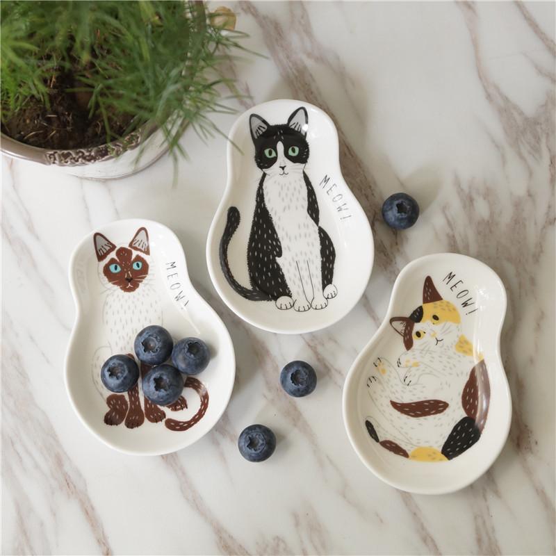 Adorable Cat Print Ceramic Seasoning Dish for Cat Lovers