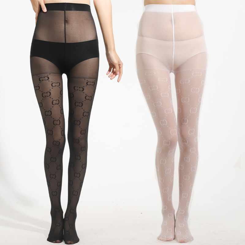 Aesthetic Double C Pattern Velvet and Nylon Stockings for Matching with Skirts