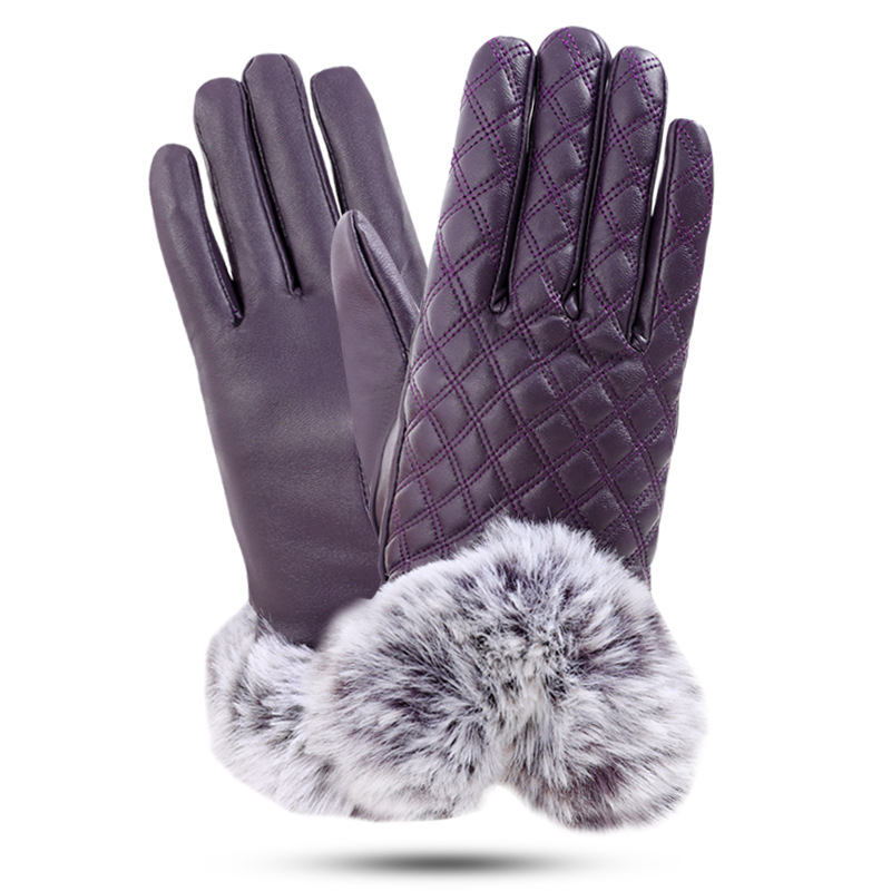 Warm Polyurethane Leather Gloves for Winter Season