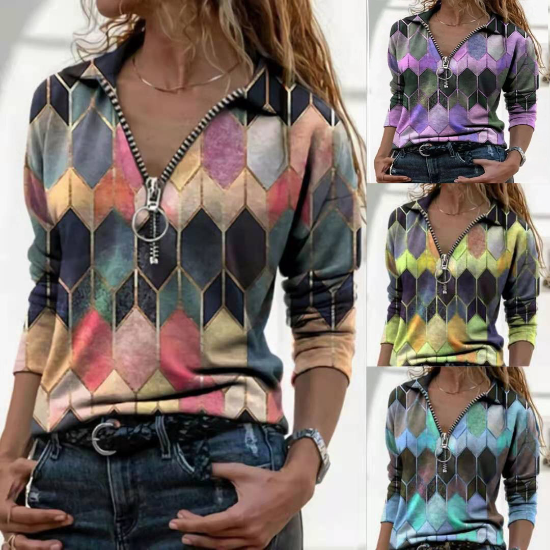 Vibrant Geometric Print Long Sleeve Hoodie with Zipper  for Casual Wear