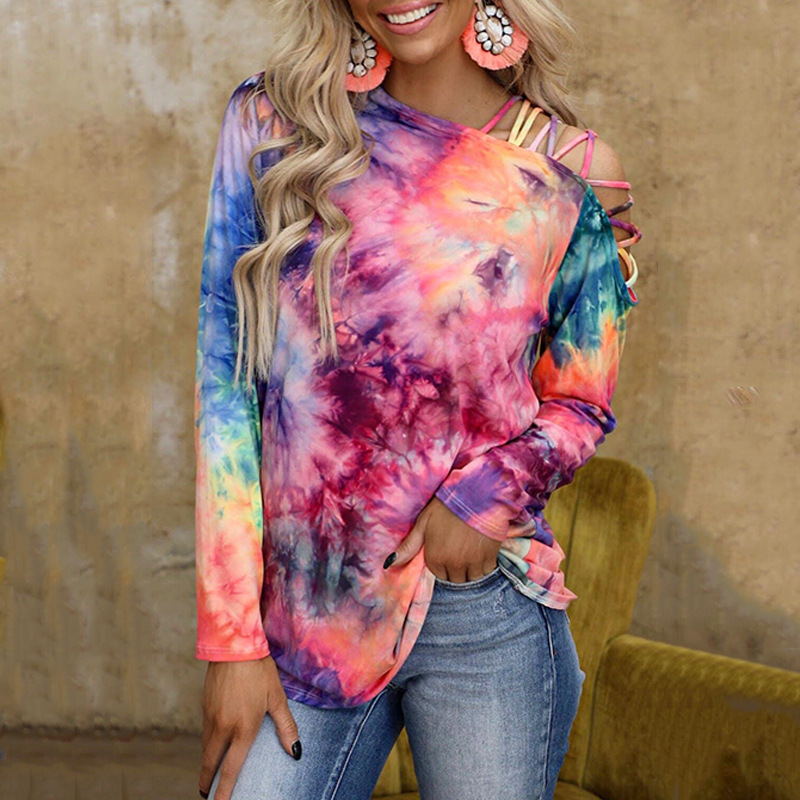 Multicolored Tie Dye Strappy One Off Shoulder Sweater for Hip Looks