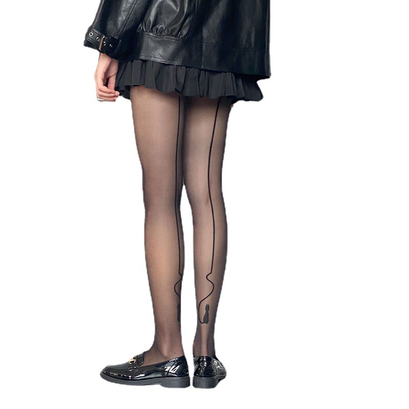 Personable Black Stockings with Cat Design for Fashion and Aesthetics