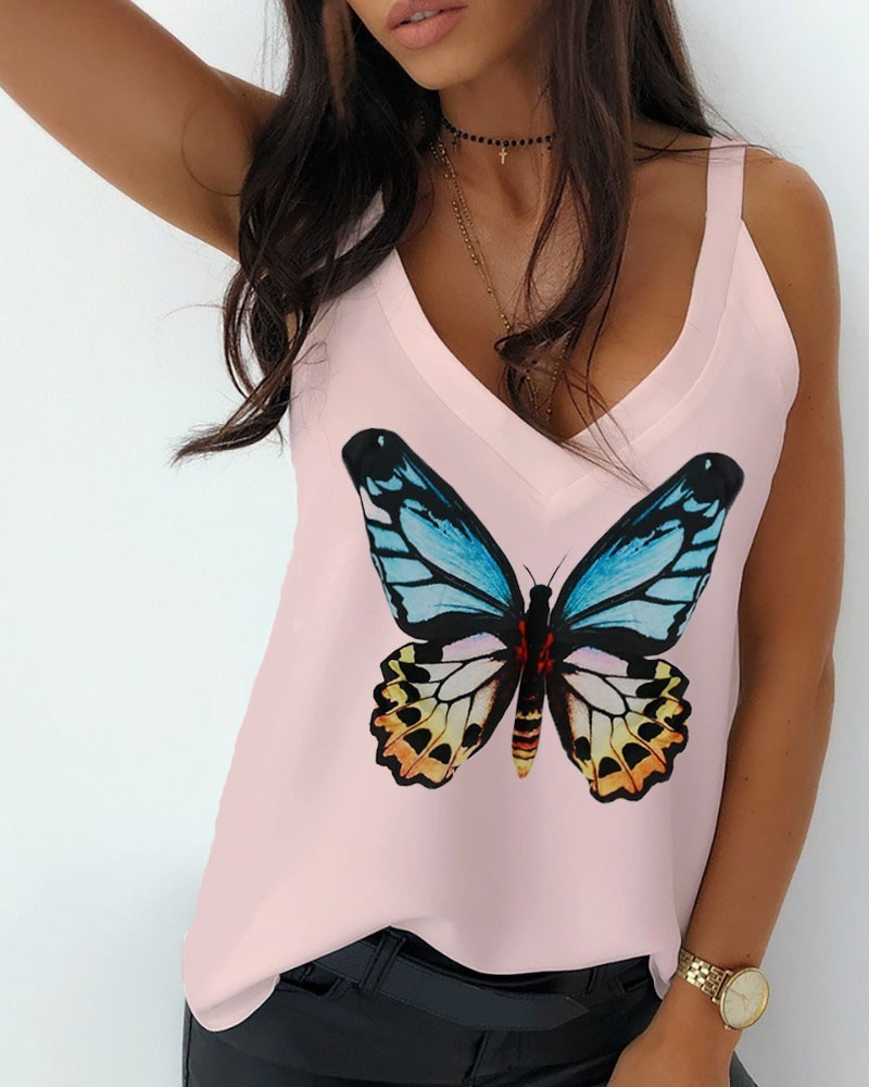 Charming Butterfly V-Neck Sleeveless Shirt for Summer Refreshing Outfit