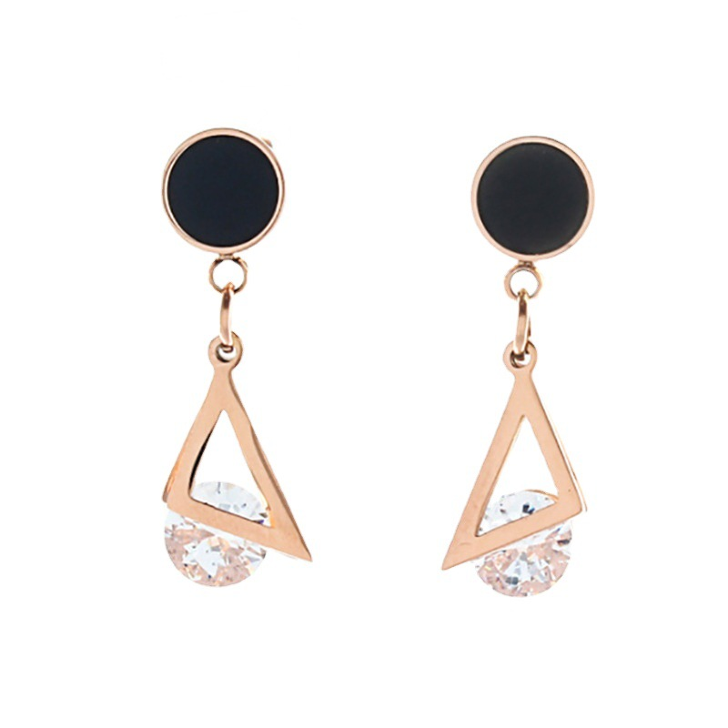 Elegant Titanium Steel, Faux Zircon, and S925 Silver Needle Drop Earring for Formal Occasion