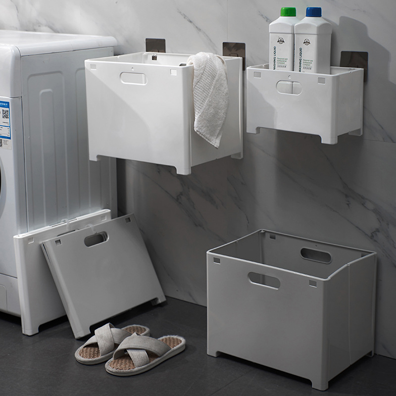 Collapsible Wall-Mounted Plastic Storage Box for Dirty Laundry and Towel Storage