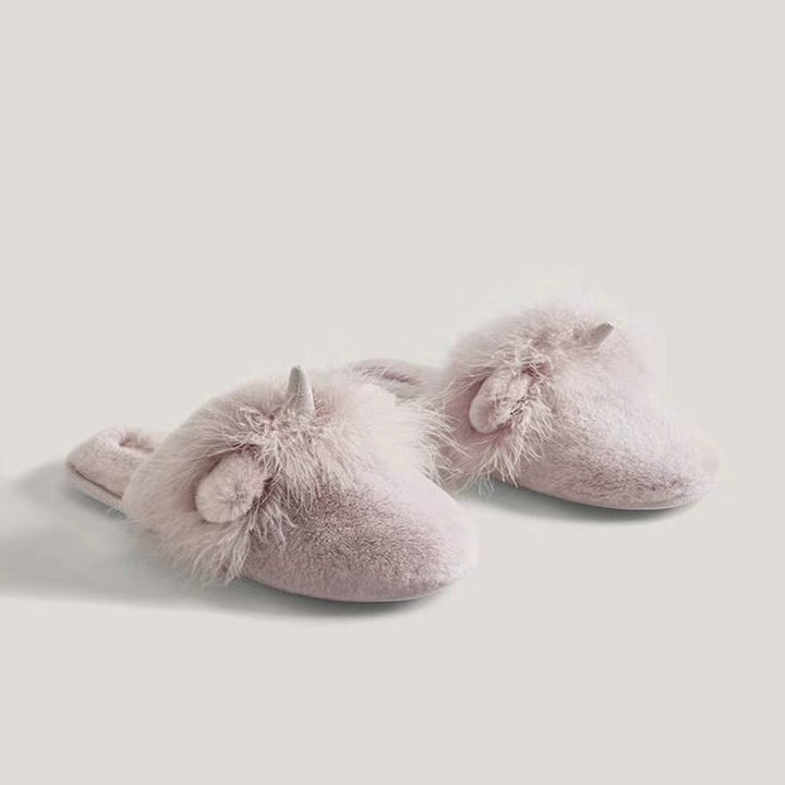 Cute Non-Slip Plush and Rubber Slippers for Visitors