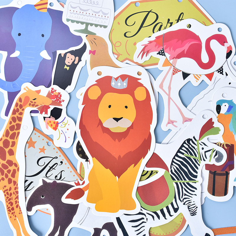 Cute Animal Print DIY Garlands for Children's Birthday Parties
