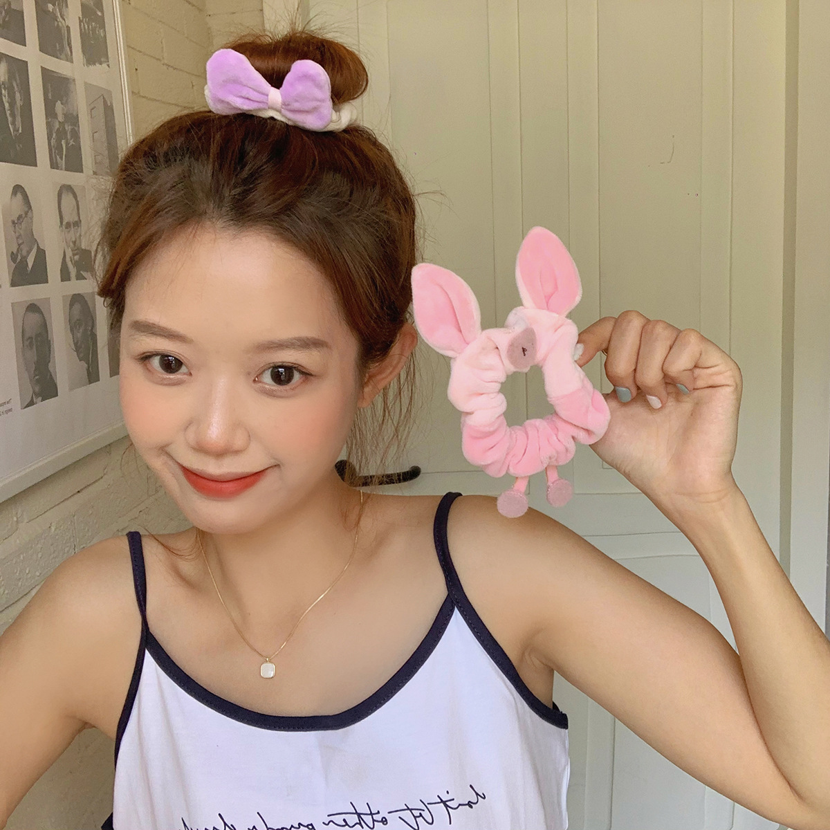 Cute Piglet Scrunchie for Easy Bun Hairstyle