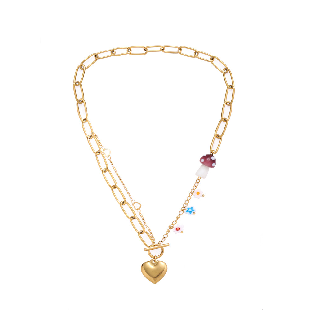 Stylish Chain Floral Heart Necklace for Picnic with Friends