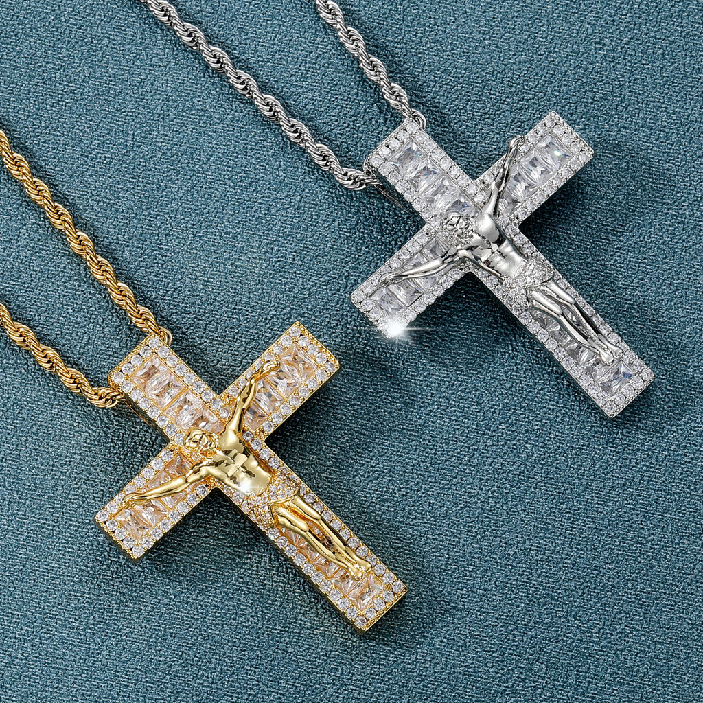 Exceptional Gold-Plated Copper Crucifix Pendant with Stainless Steel Twist Chain for Daily Use