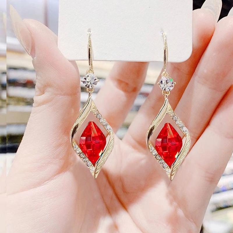 Elegant Rhombus Blue and Red Dangling Earrings for Ladies