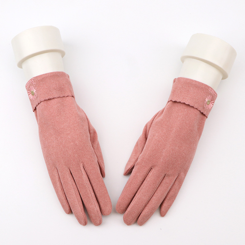 Pastel Floral Gloves for Women's Riding and Winter Sports