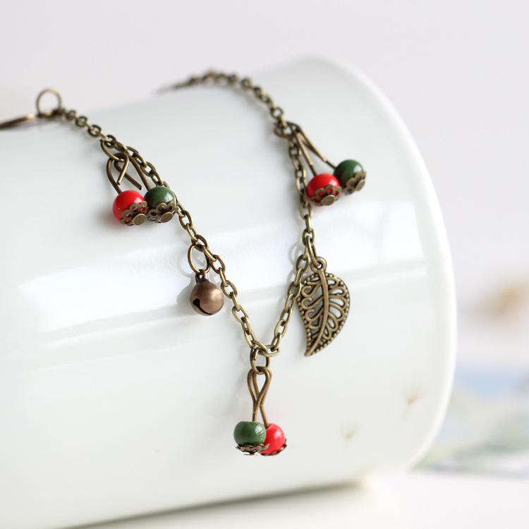 Bohemian Metal Anklet With Cherry Details For Birthday Gift