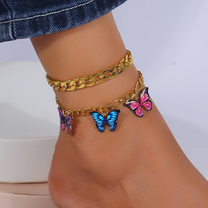 Trendy Butterfly Gold Figaro and Curb Chain Anklets for Layering Accessories
