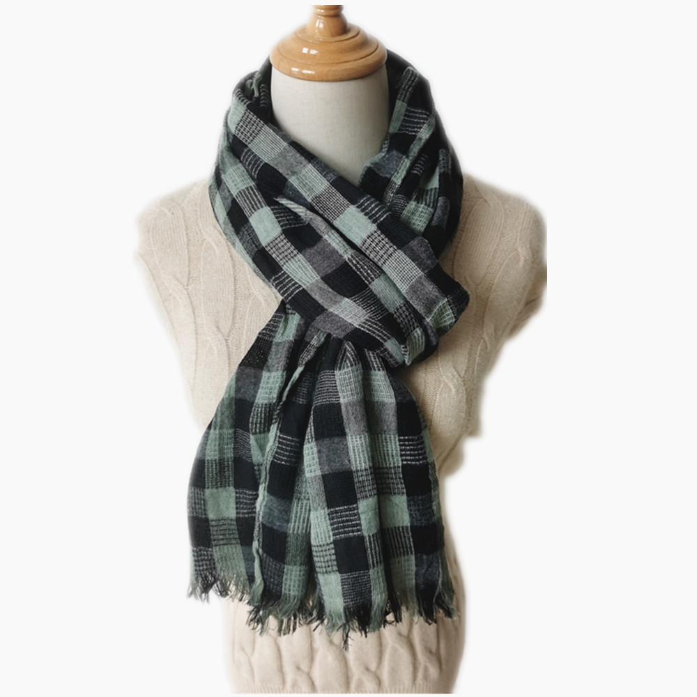 Simple Long Plaid Scarf for American Style Winter and Autumn Fashion