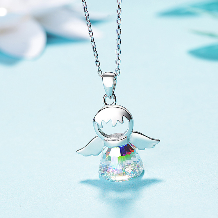 Mesmerizing Silver Necklace with Colorful Angel Pendant for Birthday Gift Ideas