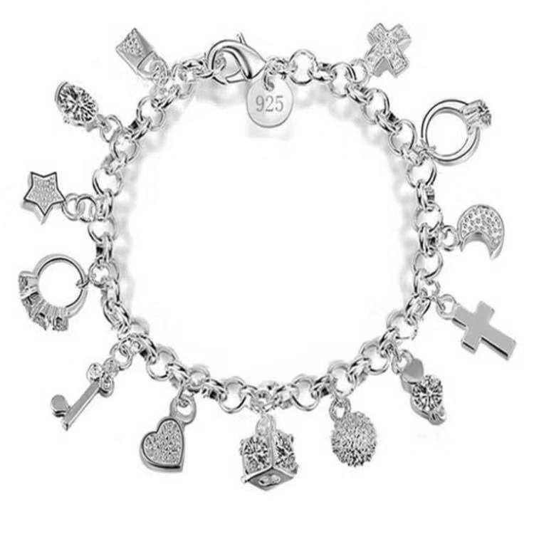 Dashing Silver Chain Bracelet with Various Pendants for Fancy Accessories on Casual Outfits