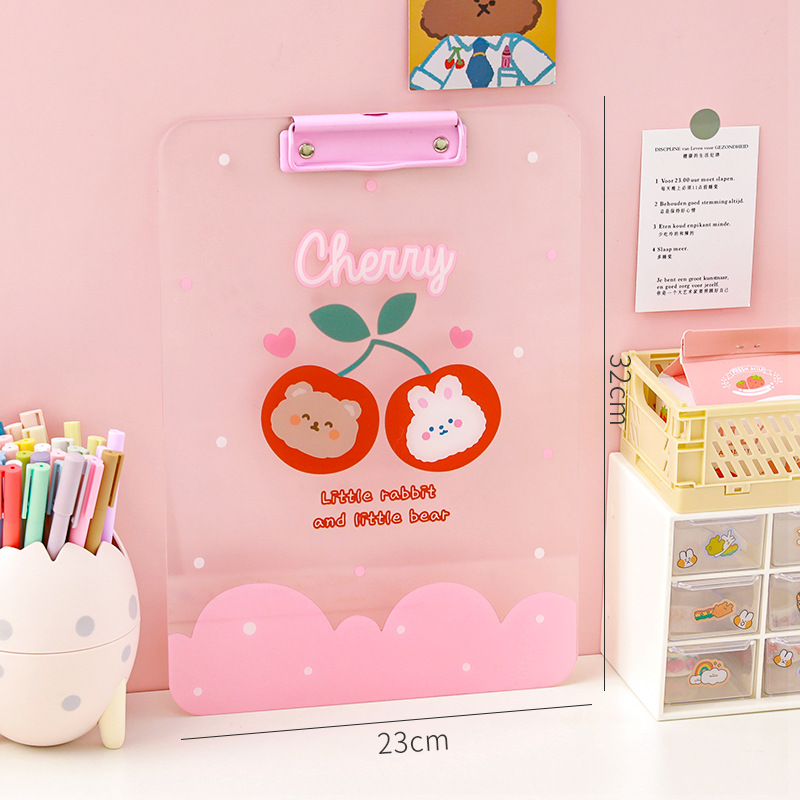 Charming Transparent Cartoon Clip Board for Doing Assignments