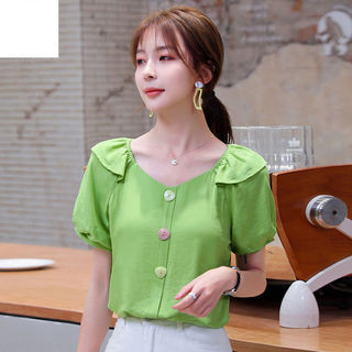 Dainty V-Neck Chiffon Top with Flowy Sleeves for Picnic Dates