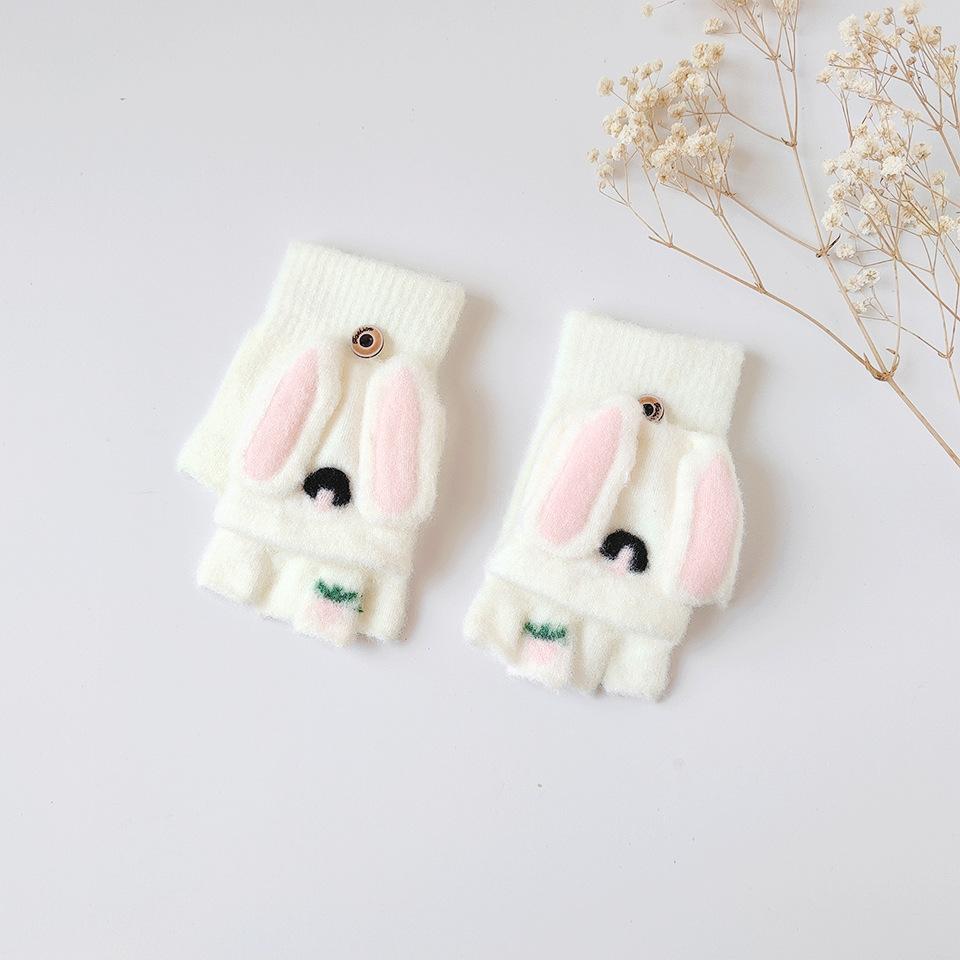 Plushy Bunny Design Convertible Gloves for Kids